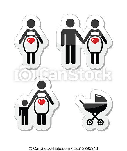 Pregnant woman vector icons set - csp12295943