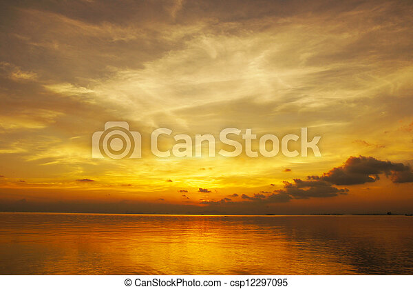 Sunset sky, The lake of Songkla, Thailand. - csp12297095