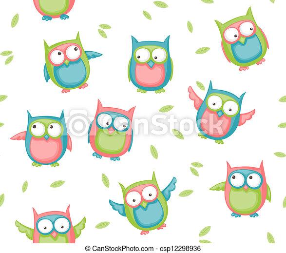 Seamless owl pattern - csp12298936