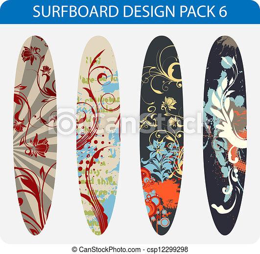 Eps vectores de paquete dise o tabla de surf 6 vector - Disenos de tablas de surf ...