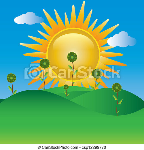 Landscape With Sun And flowers.