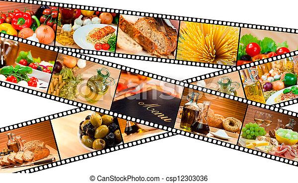 Film Strip Food Montage Menu Salad Pasta Bread - csp12303036