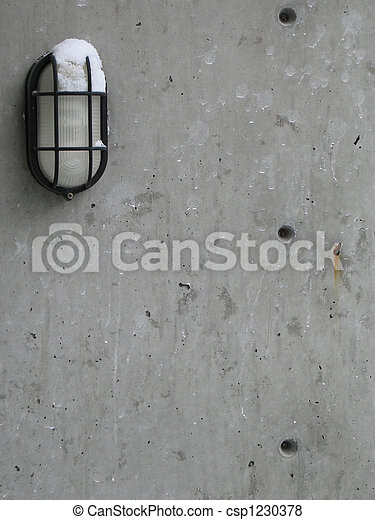 outdoor light with snow on a cement - csp1230378