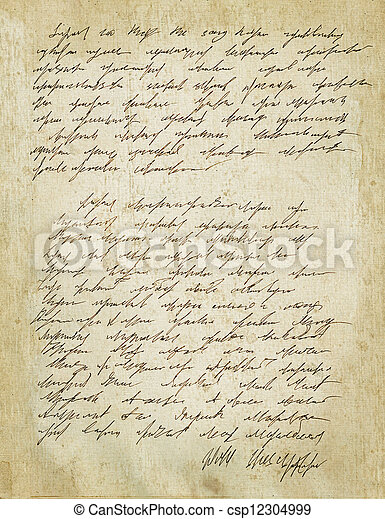 Old letter with vintage handwriting. Grunge.