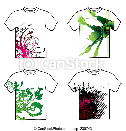 Drawings of tshirt design - Collection of four tshirt design with ...