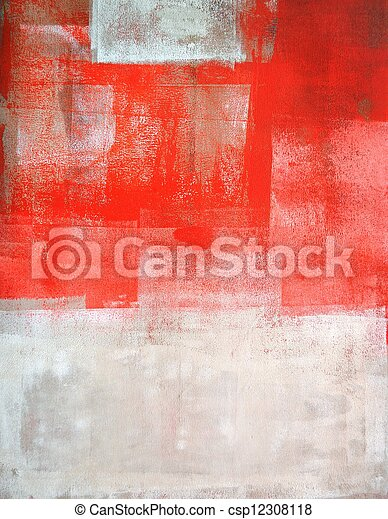 Coral and Beige Abstract Art - csp12308118