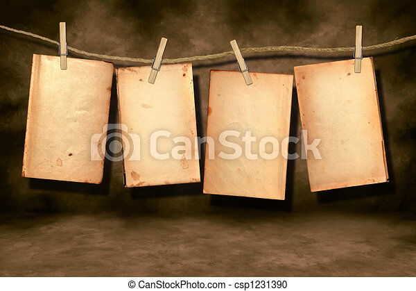 Distressed Worn Book Pages Hanging - csp1231390