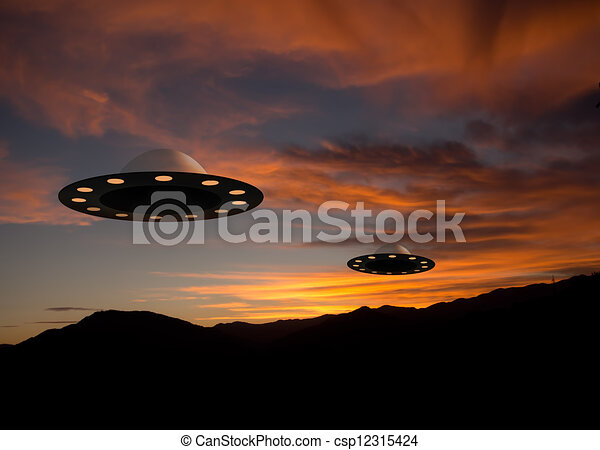 UFOs at sunset - extraterrestrial - csp12315424