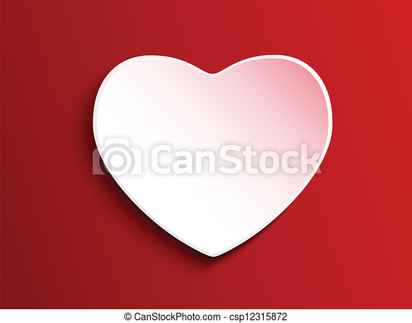 Valentine Day Heart on Red Background - csp12315872