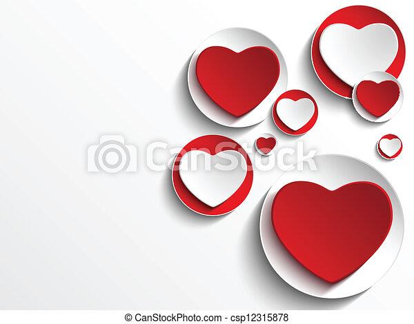 Valentine Day Heart on White Button - csp12315878