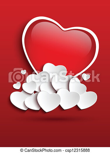 Valentines Day Heart Clouds - csp12315888
