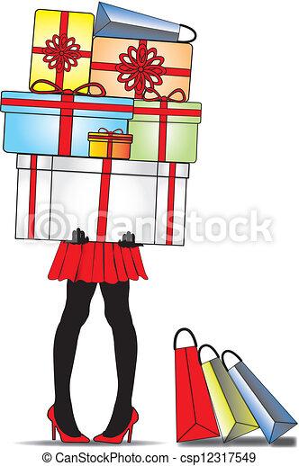 Vettore eps di standing scatole signora regalo for Piani di garage free standing