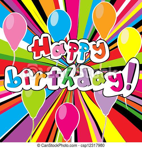 Happy birthday card with colored sunburst - csp12317980