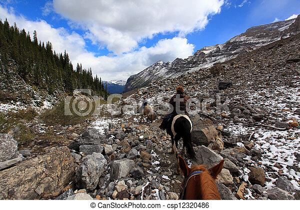 horseback riding in plain of six glaciers alberta