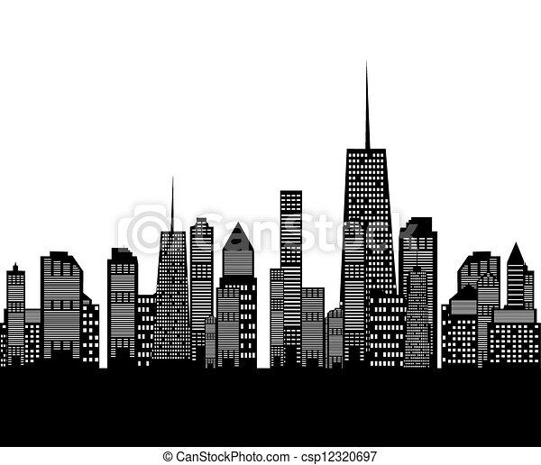 EPS vectores de vector, Ilustración, ciudades, silueta csp12320697 ...
