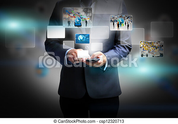 Business man holding social media - csp12320713
