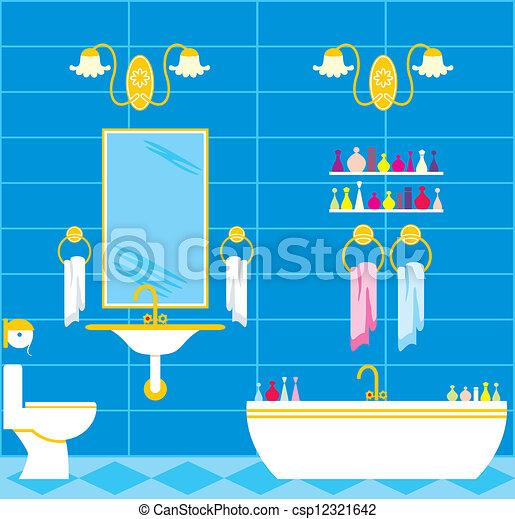 EPS vector de cuarto de baño - imagen, de, Un, cuarto de ...