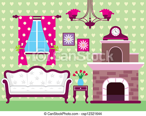 Eps Vector Of Living Room Image Of Interior Living Room