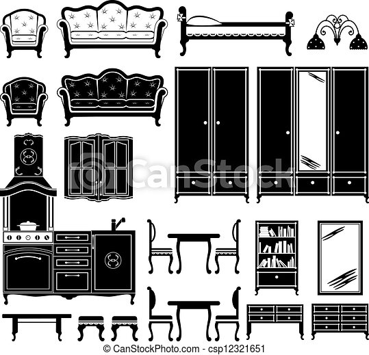 vector clip art of furniture in black for home set two
