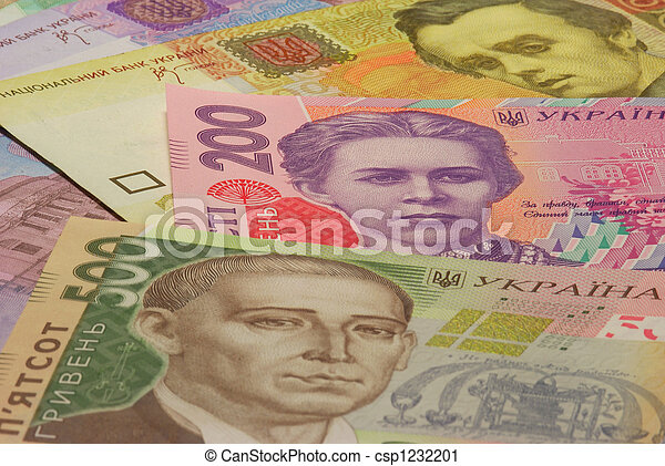 The Ukrainian money, greater denominations. - csp1232201