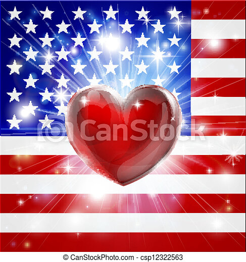 Love America flag heart background - csp12322563
