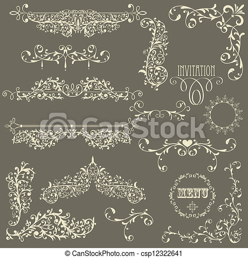 Vector Lacy Vintage Design Elements - csp12322641