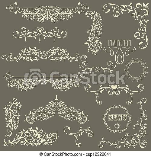 Vector Lacy Vintage Design Elements - csp12322641