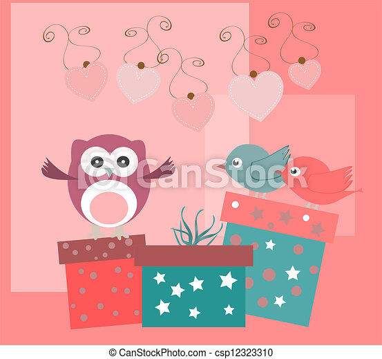 birthday party elements with cute owls, birds, hearts and flowers - csp12323310