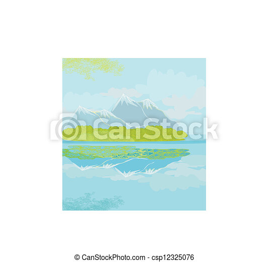 Vector landscape with mountains - csp12325076