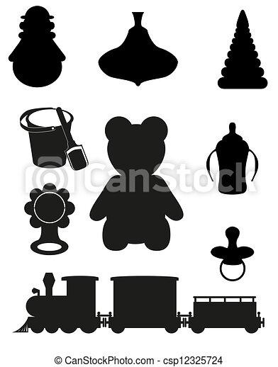 图标, 玩具, 附件, 婴儿, 孩子, 黑色, 侧面影象, 矢量, 描述