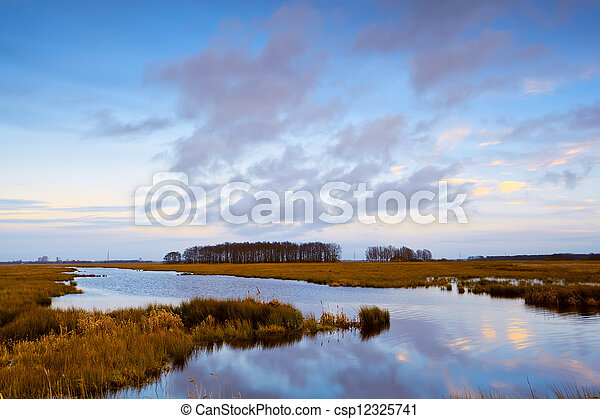 river in Drenthe before sunset - csp12325741