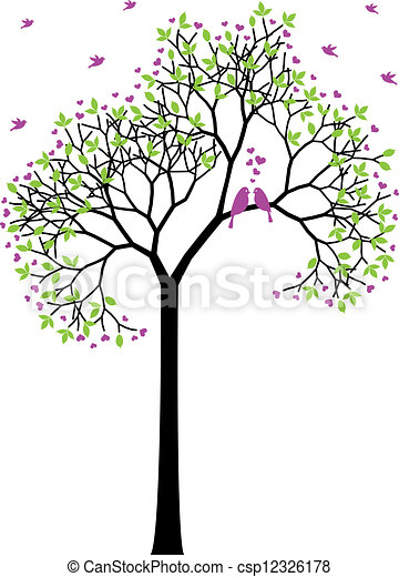 spring tree with love birds, vector - csp12326178