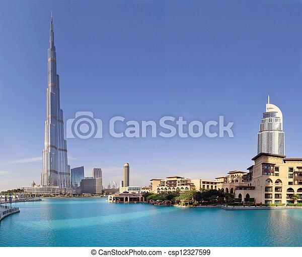 DUBAI, UAE - OCTOBER 23: Burj khalifa, the highest building in the world, Downtown on october 23, 2012 in Dubai, UAE - csp12327599
