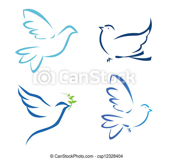 Vector illustration of flying dove - csp12328404