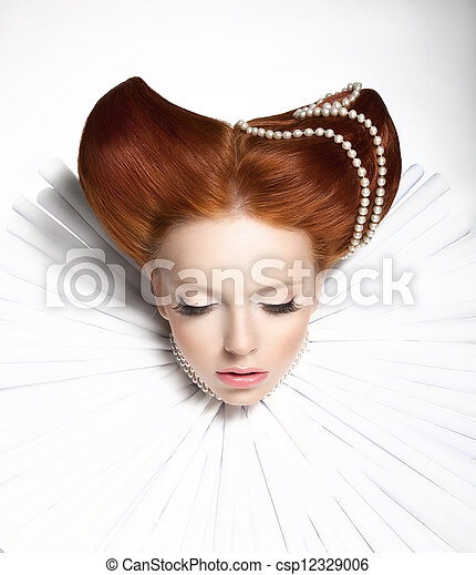 Fairy Tale. Theatre. Fancy Woman in Medieval Frill - Fantastic Retro Hairstyle. Fantasy - csp12329006