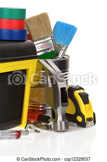 tools and construction toolbox isolated on white  - csp12329537