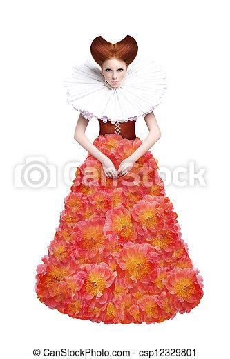 Red Hair Duchess. Retro Fashion Woman in Classic Jabot. Renaissance. Fantasy - csp12329801