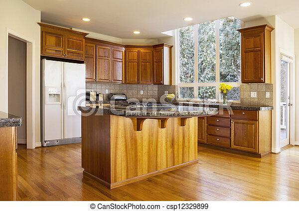 Stock fotografieken van groot daglicht keuken moderne keuken met rood eik - Centrum eiland keuken ...