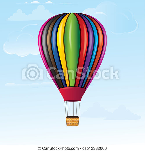 Vector Clipart of Hot air balloon in sky with bamboo ...