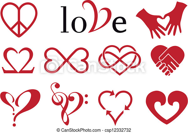 abstract heart designs, vector set - csp12332732