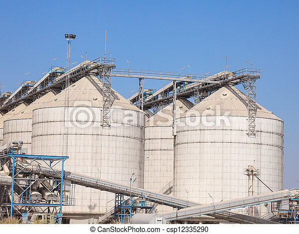 grain storage silos tank for agriculture - csp12335290
