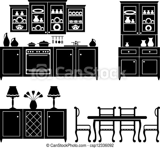 EPS Vectors Of Set Of Icons Of Kitchen Furniture In Black And White Csp12336