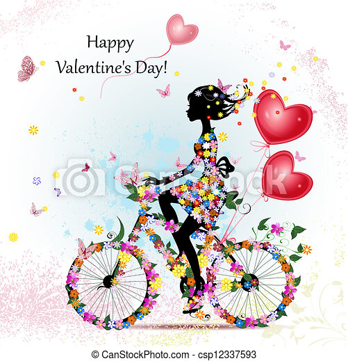Woman on bicycle with valentines - csp12337593