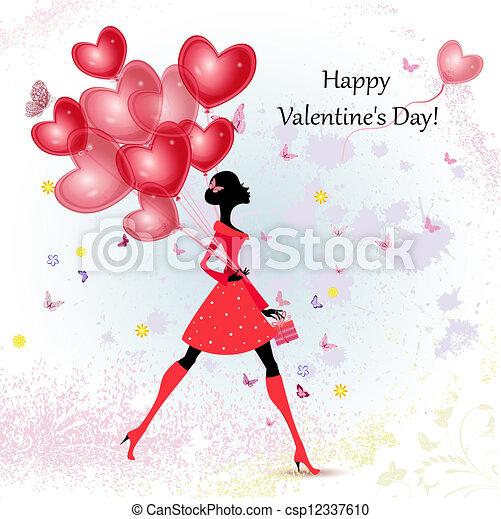 Card design girl with Valentine's Day - csp12337610