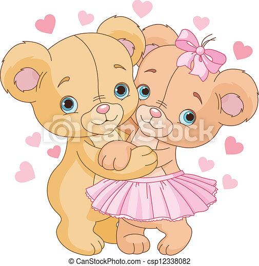Vector de teddy, osos, amor - dos, lindo, teddy, osos, amor ...
