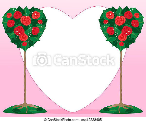 Rose Bushes Drawing Vector Valentine Rose Bush