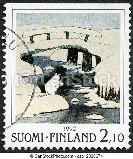FINLAND - CIRCA 1992: A stamp printed in Finland shows Moomin Cartoon Characters, by Tove Jansson: Winter scene, ice covered bridges, circa 1992 - csp12338674