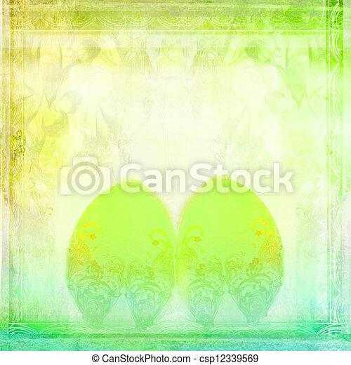 Easter Egg On floral Background  - csp12339569