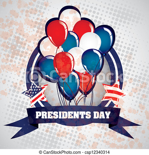 Vector Clip Art of President's Day in USA - Poster illustration of ...