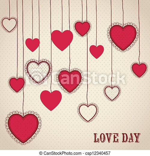 Clipart vectorial de amor, cartel - cartel, Ilustración, día, amor ...